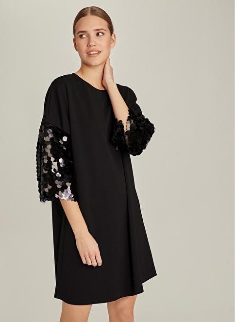 NGSTYLE Kolu Payetli Sweat Elbise Siyah